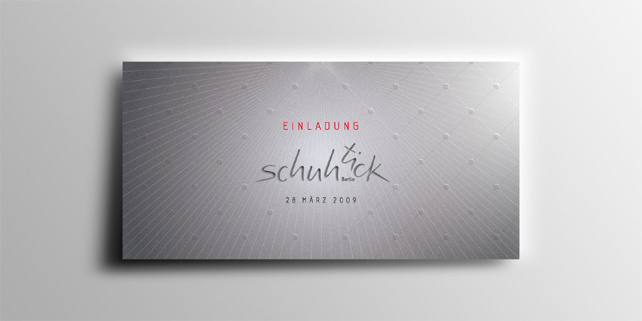 Schuhtick superieur graphique vip inviting card in silver color with the laser cut out and an uv varnish finish front reheart Image collections